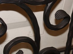 Close-up of Wrought Iron Pot & Pan Rack